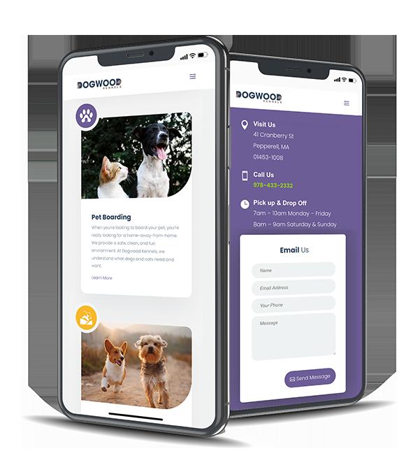 Dogwood Kennels' website is mobile-friendly